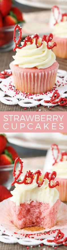 Strawberry Cupcakes with Cream Cheese: Tasty & Pretty Too! Strawberry Cupcakes with Cream Cheese Frosting – the love toppers make them the perfect treat for Valentine's Day! Mini Desserts, Just Desserts, Delicious Desserts, Dessert Recipes, Frosting Recipes, Delicious Cupcakes, Cupcake Cream, Cupcakes With Cream Cheese Frosting, Buttercream Frosting