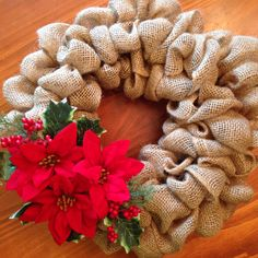 Small Christmas burlap wreath with poinsettia