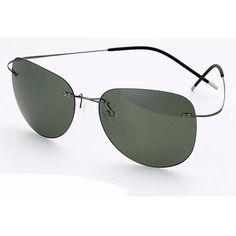 ed8d909b23 100% Titanium Silhouette sunglasses Polaroid super Light Brand Designer  Rimless Polaroid Gafas Men Polarized Sun glasses eyewear
