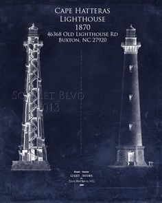 Cape Hatteras Lighthouse Architectural Blueprint by ScarletBlvd