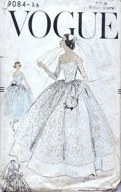 b3bf8e8fab 50s Vogue Wedding dress sewing pattern 9084