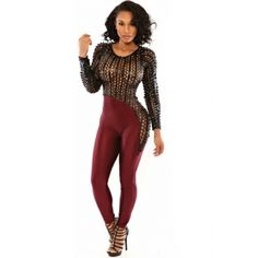 wow!! quiero uno asiiii!! USD12.49Cheap Sexy O Neck Long Sleeves Patchwork Red Polyester Skinny Jumpsuit