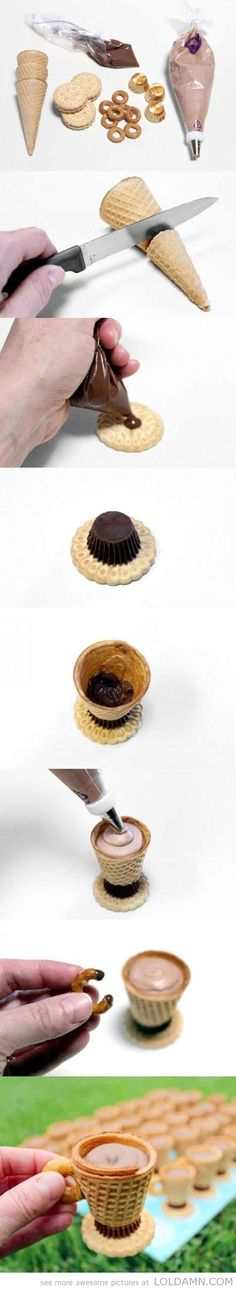 Enjoy! A cute chocolate cup made of waffle cone