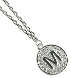 New Sterling Silver Cubic Zirconia Letter Initial M Monogram Pendant Necklace in Jewelry & Watches, Fashion Jewelry, Necklaces & Pendants   eBay