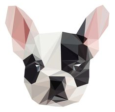Polygonal Portrait of a Cute French Bull Dog Geometric Drawing, Geometric Shapes, Animal Paintings, Animal Drawings, French Bulldog Art, Polygon Art, Animal Quilts, Dog Crafts, Cute Wallpapers