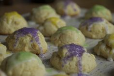 Mini King Cakes for Mardi Gras:  Mini king cake cookies for Mardi Gras... much easier than a cake!