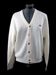 VINTAGE IZOD SWEATER Creamy White CARDIGAN Mens Size Chest  42#vintagemenssweater#izodcardigan