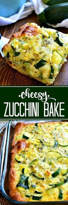 This cheesy Zucchini Bake is one of my favorite ways to use zucchini! Delicious for breakfast, lunch, or dinner...and so easy to make! paleo lunch zucchini