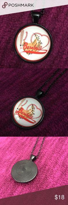 Baseball mom Photo Cabochon Glass Black Pendant Necklace