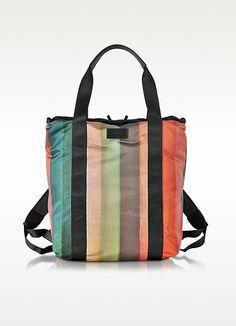 Men's Painted Rainbow Stripe Print 2 Way Tote Bag - Paul Smith