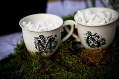 teacups of marshmallows for a winter wedding