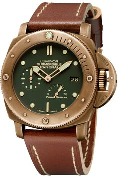 Panerai presents the Luminor Submersible 1950 3 Days Power Reserve Automatic Bronzo, a new Special Edition produced in the same material with its eternal fascination and its decisively nautical associations.   The Luminor Submersible 1950 3 Days Power Reserve Automatic Bronzo (PAM00507) is water-resistant to 30 bar (300 metres) and is completed by a brown leather strap with stitching of a subtly nautical character and a titanium buckle.   It is a Special Edition produced in only 1,000 units!