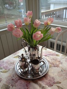 Silver plated tea set with pink tulips. Beautiful and simple.