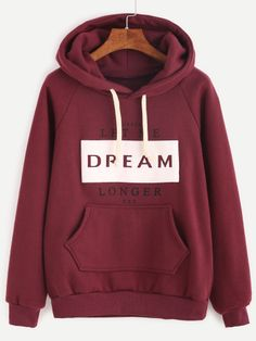 SheIn offers Burgundy Letter Print Raglan Sleeve Hooded Sweatshirt & more to fit your fashionable needs. Sweatshirts Online, Hooded Sweatshirts, Hoodies, Outerwear Jackets, Burgundy, Letter, Slogan, Pullover, Long Sleeve
