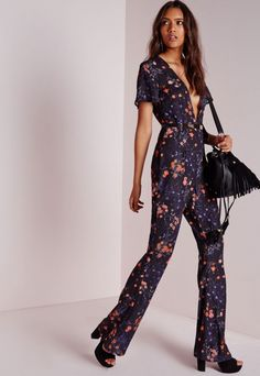 Floral Plunge Wide Leg Jumpsuit Black - Plunge - Jumpsuit - Missguided  Chiffon Fabric 1fca0acfe