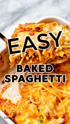 Easy Baked Spaghetti, Spaghetti Recipes, Spaghetti Sauce, Yummy Pasta Recipes, Cooking Recipes, Yummy Food, Pasta Casserole, Pasta Bake, Jesus Girl