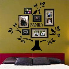 I can paint this on the wall instead--either above the coach or the dining room wall--but you can buy the Vinyl Wall Lettering Decal Graphic Large Family Tree Kit with Branches Leaves Birds Family Tree Decal, Tree Decals, Family Wall, Wall Decals, Wall Décor, Wall Art, Wall Sticker, Family Room, Family Tree Photo