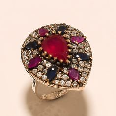 Wedding Jewelry Turkish 925 Sterling Silver Women Ruby Sapphire Gemstone Ring AA #Handmade #PaveSetting #ValentinesDay
