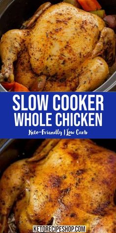 Whole Chicken Recipe in a slow cooker for a Perfect low carb family weekend lunch. Lunch Recipes, Real Food Recipes, Breakfast Recipes, Dinner Recipes, Dinner Ideas, Keto Recipes, Turkey Recipes, Soup Recipes, Recipies
