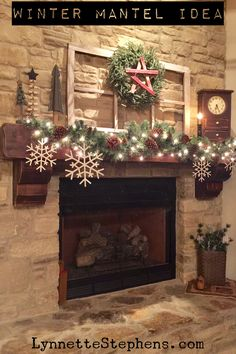 To make our mantel ready for the winter months I simply removed the red berries from the garland and added the over-sized metal snowflakes. I replaced the stocking that was on the wreath with our red…More Star Tree Topper, Rustic Light Fixtures, Rustic Lighting, Industrial Lighting, Lighting Ideas, Winter Home Decor, Winter House, Christmas Mantels, Christmas Decorations