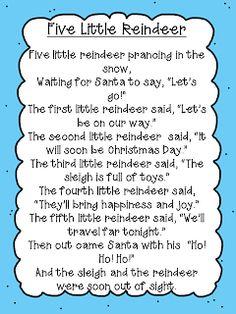 Five Little Reindeer Poem Freebie Christmas Poems, Christmas Program, Christmas Concert, Preschool Christmas, Christmas Activities, Kids Christmas, Christmas Crafts, Reindeer Song, Xmas Songs