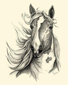 Textured Horse Sketch by JLBurkeArt on Etsy, $105.00