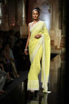 Lovely yellow saree #BMWIndiaBridalFashionweek
