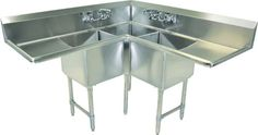 New Commercial Kitchen Three Compartment Stainless Steel Corner Sink-NSF