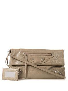 Classic metallic-edge leather envelope clutch | Balenciaga | MATCHESFASHION.COM US