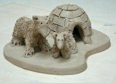 3-D Arctic scene - stoneware