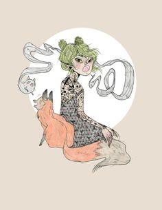 Catty Fox by Heather Mahler on Society6