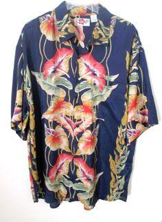Men's Hilo Hattie Size XL Hawaiian Shirt Navy Blue Silk Tropical Floral Pattern #HiloHattie #Hawaiian