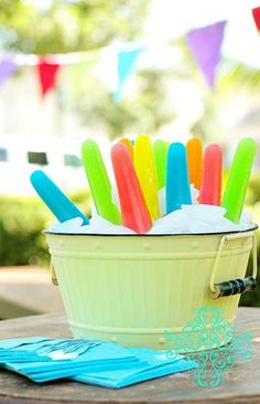A perfect array of pretty colorful popsicles, ready for a fun summer party.