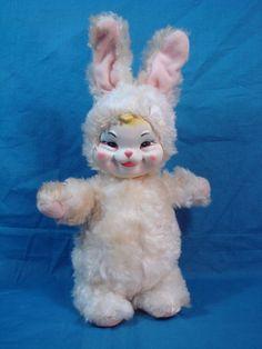 Vtg Plush Rushton Bunny Rabbit w Rubber Face Easter 13 1 Stuffed Melanie Martinez, Pink Liquor, Easter Bunny Costume, Kid N Play, Creepy Toys, Rubber Doll, Vintage Nursery, Vintage Easter, Bunny Rabbit