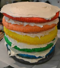 Six Layer Rainbow Cake
