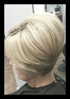 Adorable stacked blonde haircut