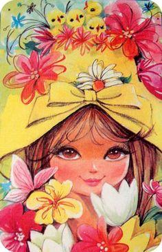 Flower Girl / '60s greeting card