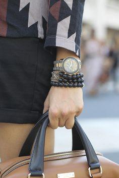 Grey & gold watch