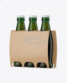 Kraft Paper 3 Pack Light Green Bottle Carrier Mockup - Halfside View