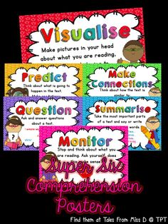 A set of 6 posters explaining the Super Six Comprehension Strategies  1. Visualising 2. Making Connections 3. Questioning 4. Predicting 5. Summarising 6. Monitoring  These posters can be used to introduce each strategy and then used as part of a Wall That Teaches by hanging student work samples underneath each poster.