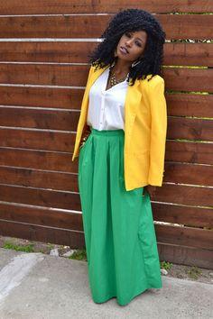 blazer & maxi skirt : color block look, yellow + green + white Yellow Maxi Dress Outfit, Maxi Skirt Blazer, Maxi Skirt Outfits, Maxi Skirts, Maxi Dresses, Khaki Blazer, Yellow Blazer, Kimono Blouse, White Kimono