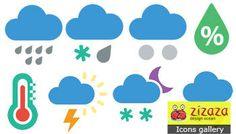 #Icon set - Weather - Zizaza item for sale #icons #iconset #flat #webdesign