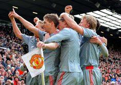 Steven Gerrard celebrates at Old Trafford