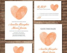 Wedding Invitation printables Finger print Heart by DallinsPaperie
