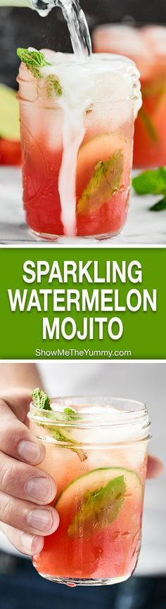This Sparkling Watermelon Mojito is what summer is all about. Juicy watermelon, fresh mint, rum, and bubbly pinot grigio. . . so easy and refreshing! showmetheyummy.com Recipe made in partnership with @BarefootWine #watermelonmojito #pinotgrigio