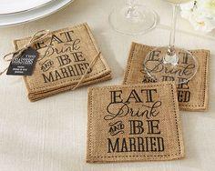 Fun, usable keepsake! First Avenue Wedding Favors - Burlap Wedding Favor Coasters, $2.45 (http://www.firstavenueweddingfavors.com/burlap-wedding-favor-coasters/) #burlapcoasterfavors #burlapweddingfavors