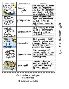 The Water Cycle Foldable plus Vocabulary Sheets, FREE by S Fourth Grade Science, Middle School Science, Elementary Science, Science Classroom, Teaching Science, Science Education, Physical Science, Science Worksheets, Science Lessons