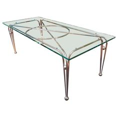 Modernist Art Deco Glass Top Dining Table