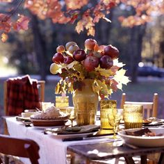 Autumn Hospitality. LOVE the fresh fruit centerpiece, & the simplicity of the setting