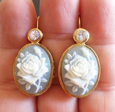 Avon SP Signed, Vintage Gold Tone and Old Plastic Cabochon Dangle Earrings. by Bestintreasures on Etsy